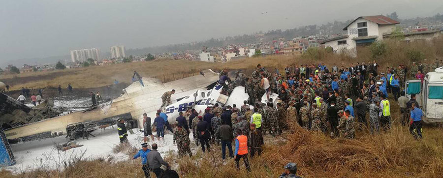 युएस बंगलाको जहाज दुर्घटनामा दुई पाइलटसहित ४९ को मृत्यु