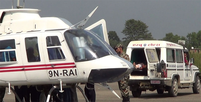 घाईतेलाई हेलिकप्टर चार्टर गरि काठमाडौं लगियो